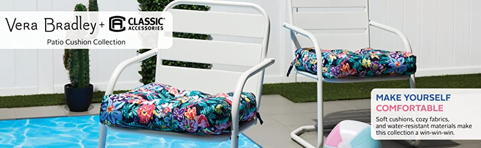 Classic Accessories Patio Chair Seat Cushion - 2-Pack