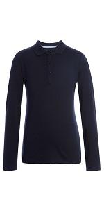 Kids School Uniform Clothes Tommy Hilfiger Long Sleeve Girls Fit Stretch Pique Polo Shirt