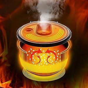 約105℃の高温でおいしく炊き上げる