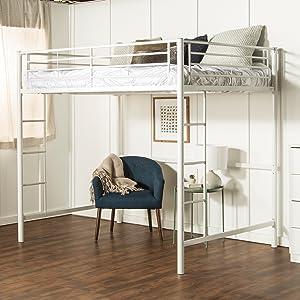 Amazon Com We Furniture Full Metal Loft Bed Black Kitchen Dining