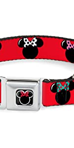 Minnie Mouse Mickey Disney Red Black Polka Dots Seatbelt Dog Pet Collar Buckle Pink White Green