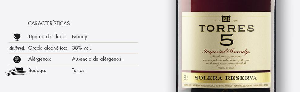 Torres 5 Solera Reserva Brandy, 700ml