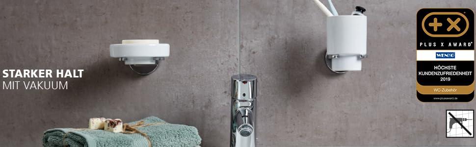 Wenko Vacuum-Loc-systeem, snelle en eenvoudige bevestiging zonder boren.