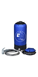 camping shower blue