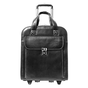 """Black 15"""" Leather Vertical Patented Detachable -Wheeled Laptop Briefcase"""