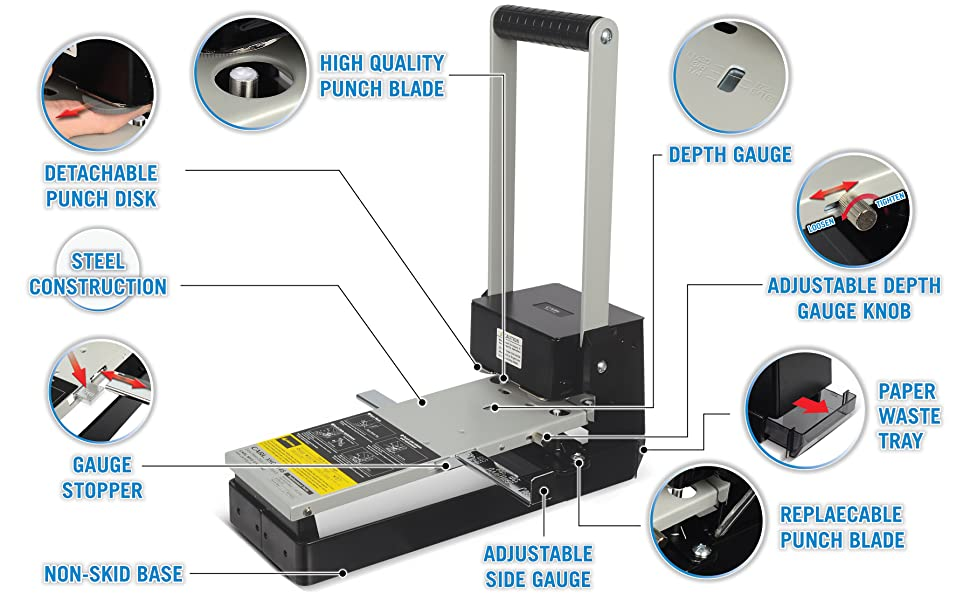 XHC-2145 Extra-Heavy Duty Paper Punch durable sturdy perfect lasting office school classroom home