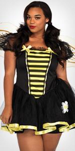 costume, plus size, bee, cute, dress, black yellow, wings, fairies
