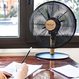 Cecotec Ventilador de Sobremesa EnergySilence 560 WoodDesk. 4 Aspas de 12