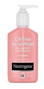 Neutrogena  Oil-Free Acne Wash Pink Grapefruit Facial Cleanser, 6 Fl. Oz