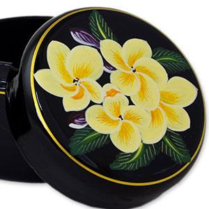 Pair NOVICA Lacquerware Mango Wood Decorative Box Yellow and Black Frangipani