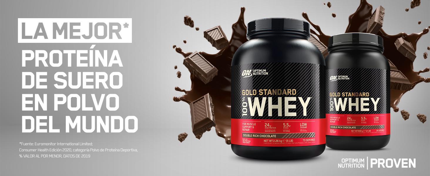 Optimum Nutrition Gold Standard 100% Whey Proteína en Polvo, Glutamina y Aminoácidos Naturales, BCAA, Chocolate Blanco, 76 Porciones, 2,28kg, Embalaje ...