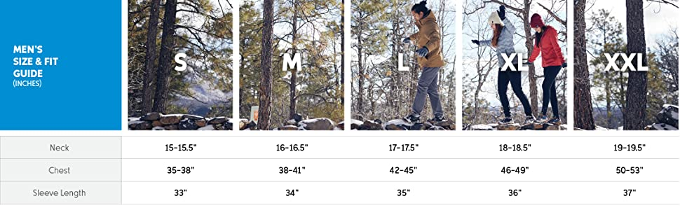 Men's winter Jacket size and fit guide