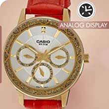 CASIO ENTICER RED BAND GOLDEN MULTI DIAL