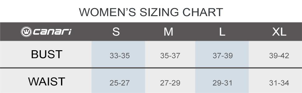 Canari Sizing Chart Women's