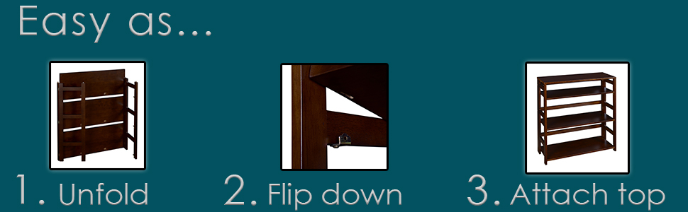 flip flop, bookcase, folding, collapsing, bookshelf, shelves, step by step instructions, teal, brown