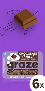 graze chocolate vanilla super oat bakes havermoutrepen    6 x 53 gram