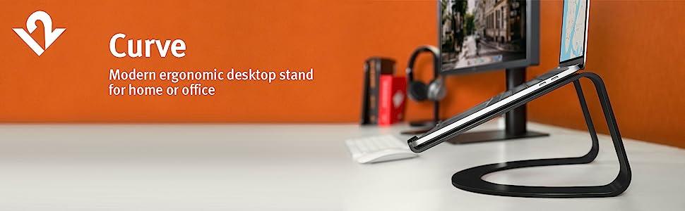 Curve, modern, ergonomic, desktop stand, home office