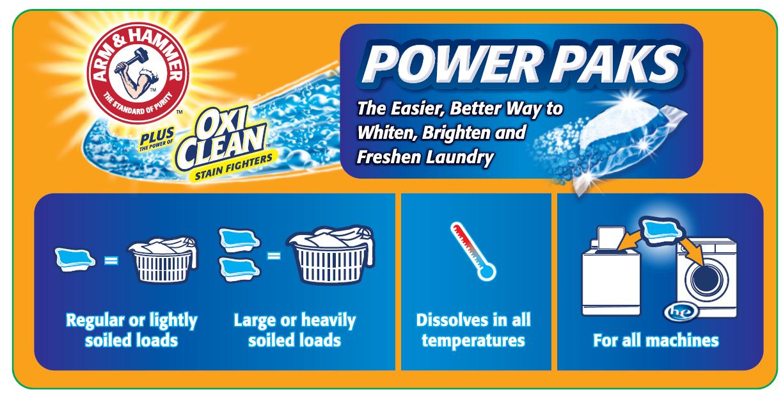 Arm Amp Hammer Laundry Detergent Plus Oxiclean Power Paks