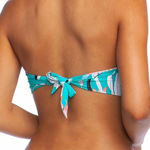 12 Ladies Floral Bead Centre Back Tie Halter Bikini TOP  UK  8 10 14  18  20.