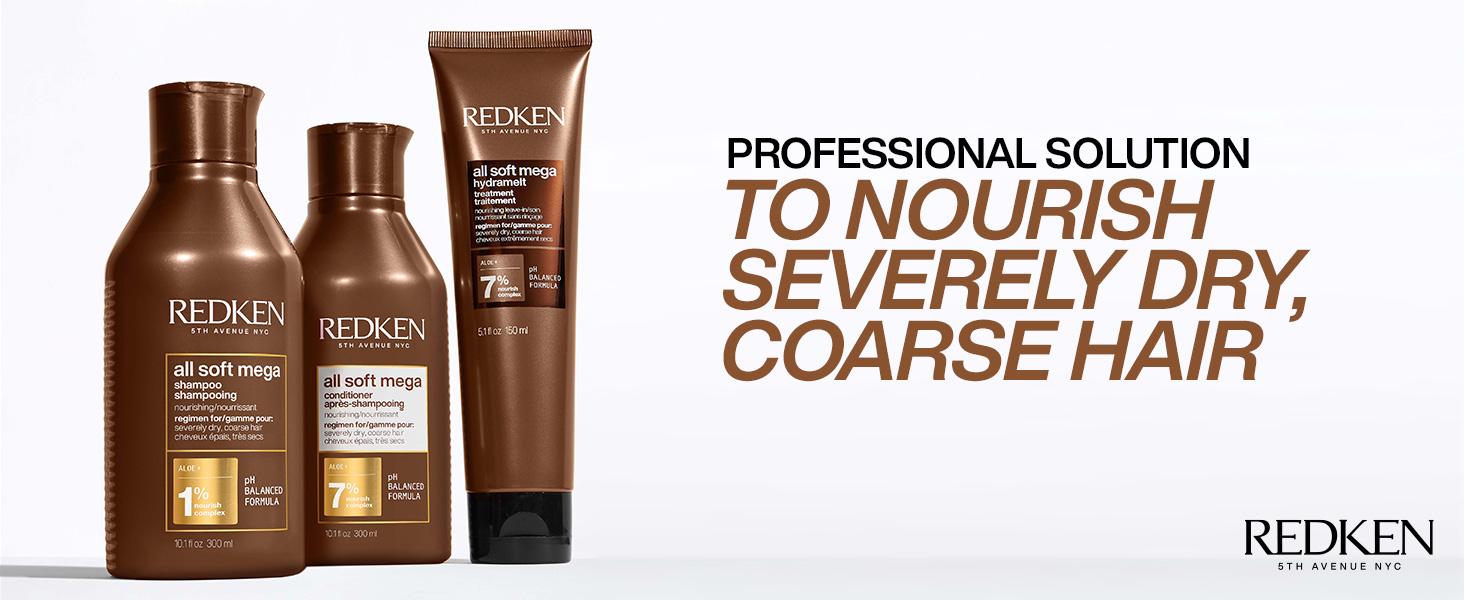redken all soft mega hydrating shampoo conditioner dry hair mask coarse