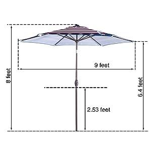 9 ft, 9 feet, 9' patio umbrella