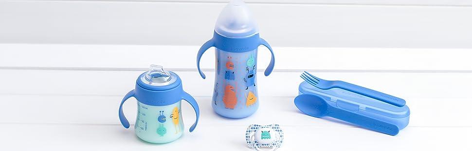 color azul Suavinex 400777 Cubiertos infantiles con estuche
