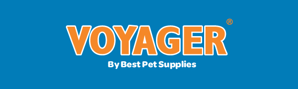 VOYAGER by Best Pet Supplies Logo in orange with white outline on solid blue background