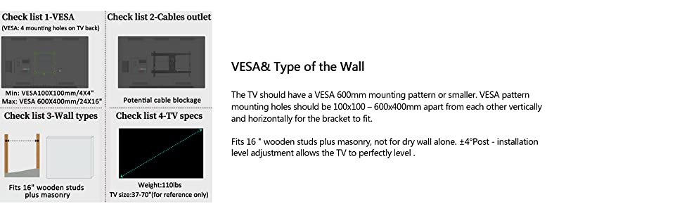 Amazon Com Everstone Tv Wall Mount Fit For Most 37 70