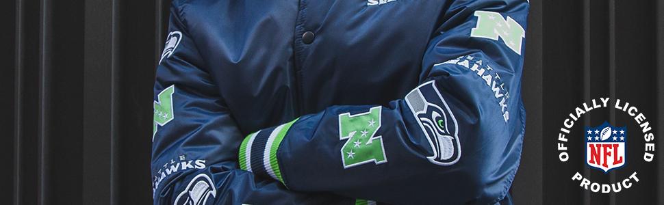 NFL Mens Varsity Jacket chenille patch logo satin full button closure knit collar cuffs waistband