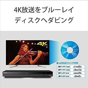 録画した4K放送をディスクダビング 本体や外付けハードディスクに録画した4K放送番組を、ブルーレイディスク(*2)へ、4K画質のままダビングできます。