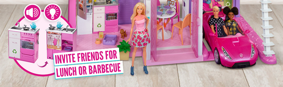 BArbie Estate Dreamhouse Adventures Large Three-Story Dolls House, Pink Accessories Playset