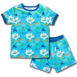 boys kids children pajama set dreamwear sleepwear night time fun design short sleeve base layer warm