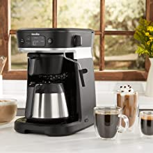 All-in-one coffee machine in kitchen, dispensing filter coffee