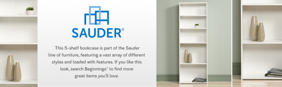 Sauder Beginnings 5-Shelf Bookcase in a Soft White Finish