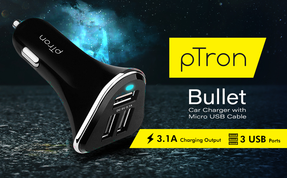PTron Bullet 3.1A Car Charger for Smartphones