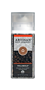 saltworks artisan malabold tellicherry black peppercorms ceramic grinder
