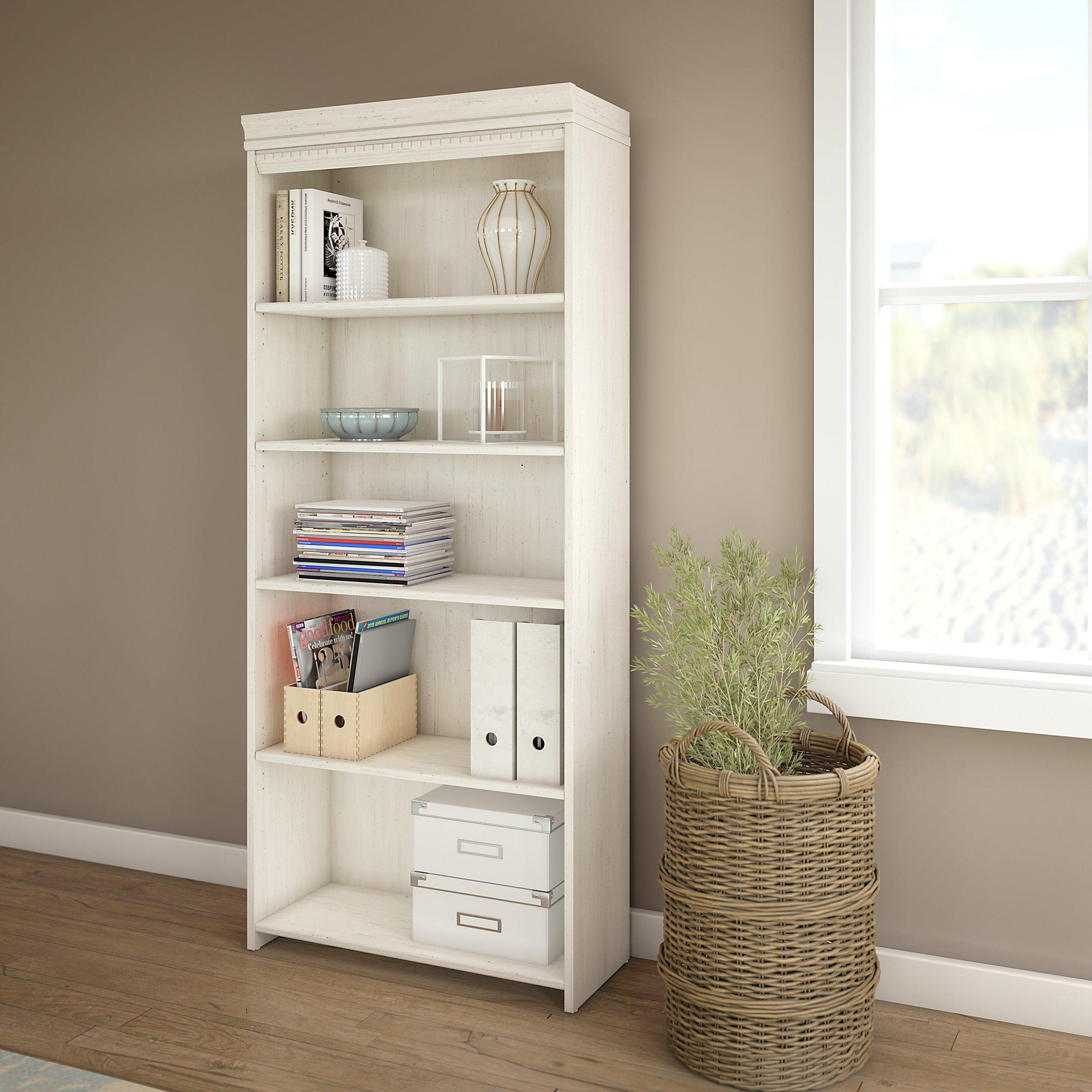 Amazon.com: Fairview 5 Shelf Bookcase In Antique White