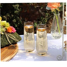 Gold Bride Stemless Champagne Glass