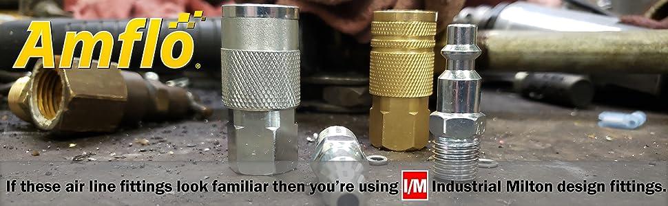 Amflo IM Design Air Line Fittings Coupler Couplers Plug Plugs Brass Steel Compressor Hose