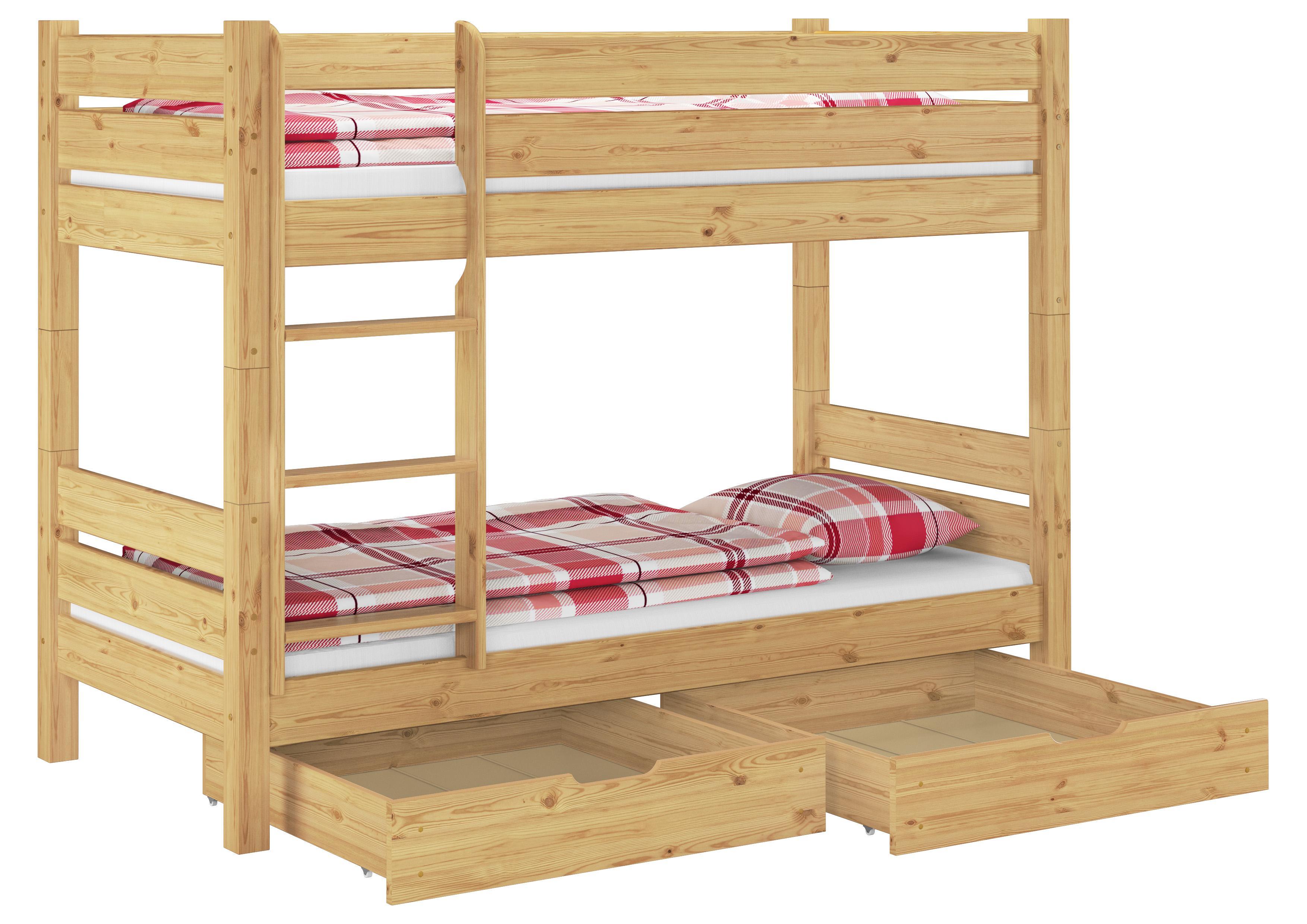 Etagenbett Nischenhöhe : Etagenbett hochbett kiefer natur teilbar rollrost matratzen