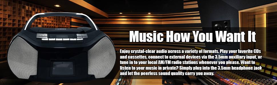 enjoy,crystal,clear,audio,music,AM,FM,radio,headphone,jack,sound,quality,connect,external,CD,aux