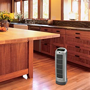 lasko tower space heater in kitchen