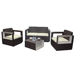 Sp Berner 55261 Set Muebles de Jardín, Set VENUS Confort Wengué