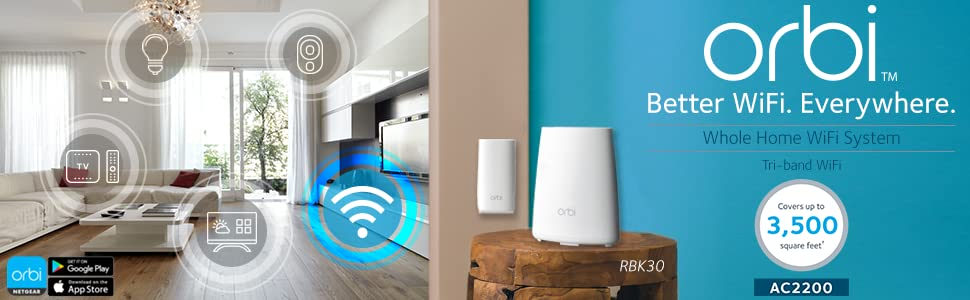 NETGEAR (RBK30-100NAS) Orbi Whole Home Mesh WiFi System – Simple setup,  Wireless router replacement, no WiFi dead zones, Works w