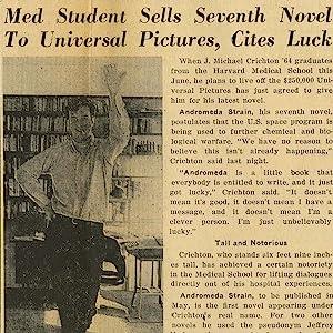 Harvard Crimson article featuring Crichton, March 1969. (Courtesy of the Harvard Crimson.)
