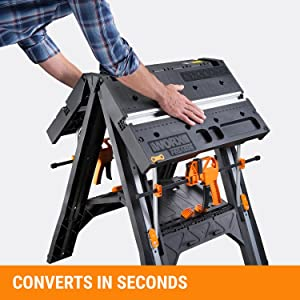 WORX Pegasus Multi-Function Work Table and Sawhorse with Quick Clamps and Holding Pegs – WX051 20