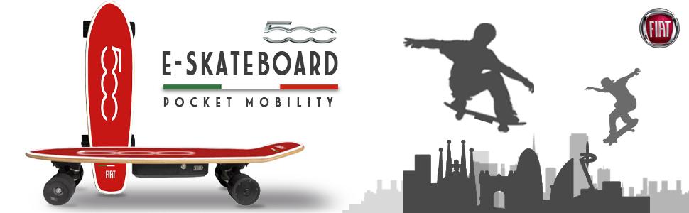 FIAT 500 Skateboard - Monopatín Eléctrico, 10-15km/h ...