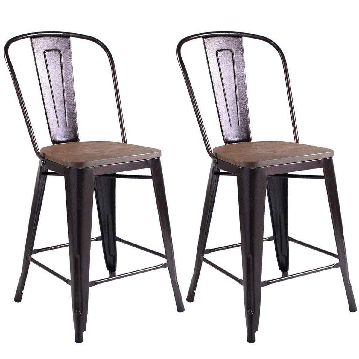 Copper Set Of 4 Metal Wood Counter Stool Kitchen Dining: Amazon.com: COSTWAY Copper Set Of 2 Tolix Style Metal
