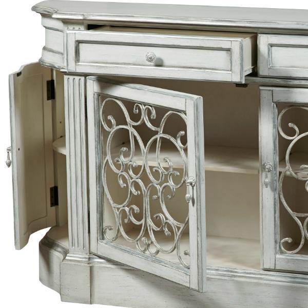 Amazon com Pulaski Aged Ivory Credenza with Iron Doors Buffets& Sideboards