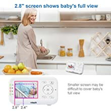 """2.8"""" screen shows baby's full view"""